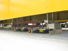 Steel-pipe plant with IPT® powered heavy duty transfer cars